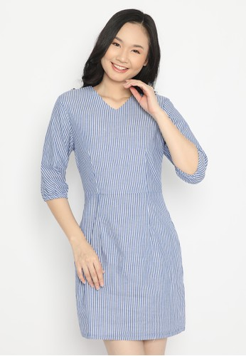 MINEOLA blue MINEOLA Puff Sleve Dress Stripe Blue DC86AAA5DB084BGS_1