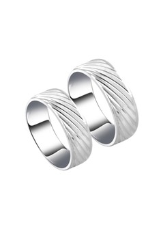 Diagonal line Pattern Couple Ring