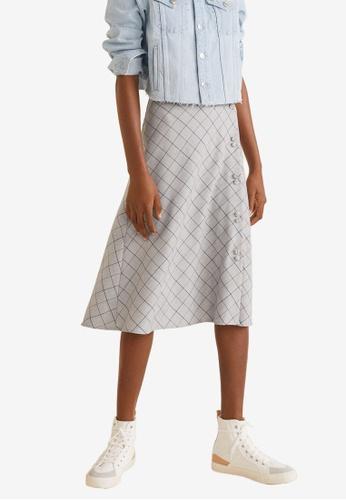 Mango grey Buttoned Checkered Skirt CE6BAAA5DF2E8FGS_1