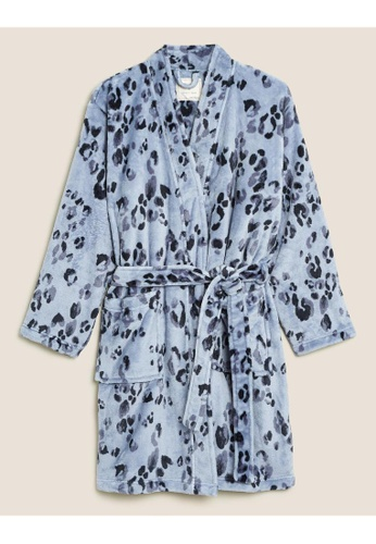 MARKS & SPENCER blue M&S Fleece Animal Print Short Dressing Gown C7558AAFA441D1GS_1