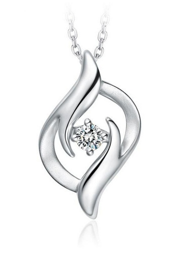 LYCKA silver LFF1237-LYCKA-S925 Silver White Zircon Fashion Necklace -Silver LY529AC0HACLSG_1