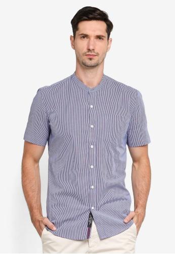 UniqTee blue Mandarin Collar Short Sleeves Shirt 3B5F0AA54257CAGS_1