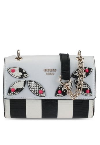 Guess black and grey and multi Fruit Punch Mini Crossbody Flap Bag D014FACBF0AC77GS_1