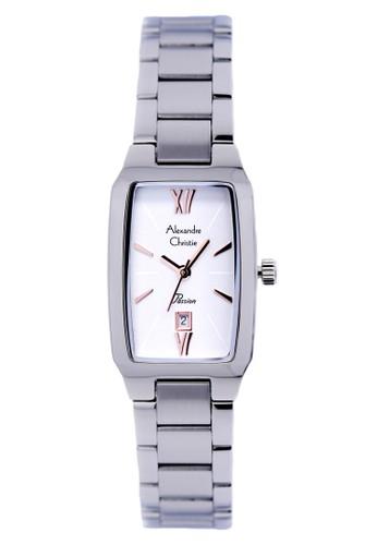 Alexandre Christie 2455 - Jam Tangan Wanita - Stainless Steel - silver putih - white -