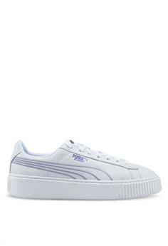 timeless design a2b13 cce3a PUMA white Basket Platform Twilight Womens Sneakers 9933BSH8BAB27EGS 1