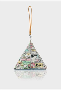 Comic Bear Pattern Pyramid Clutch