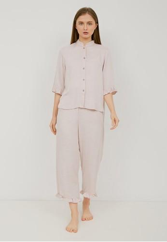 Elans pink Sangria Rayon Pajama Set 700B2AA8534883GS_1