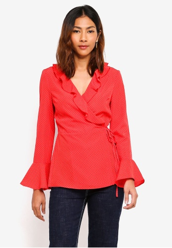 Lipsy red Red Polka Dot Wrap Blouse 4819CAA192ADCEGS_1