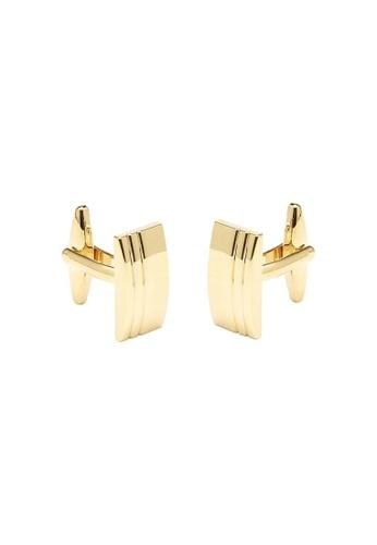 Buckle gold Rectangle Textured Gold Cufflinks 92359ACE031D16GS_1
