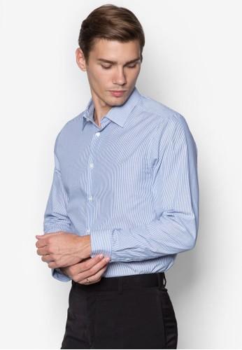 條紋修身長袖襯衫, 服esprit hk飾, 襯衫