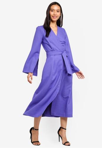 CLOSET purple Pleated Sleeve Dress F3D1AAA673EB43GS_1