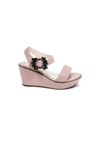 prettyFIT pink Pink Wedge Sandals With Embellished Buckles HQ-1771 2BB4ESHA63403DGS_1
