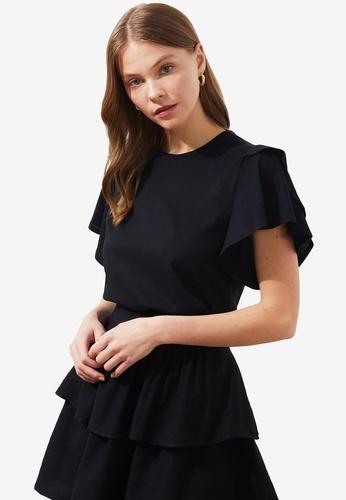 Trendyol black Ruffle Basic Knitted T-Shirt BBE93AA3344391GS_1