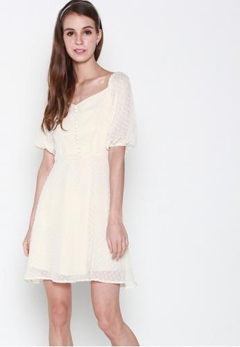 JOVET beige Puff Sleeved Dotty Dress C6A28AACEE3930GS_1