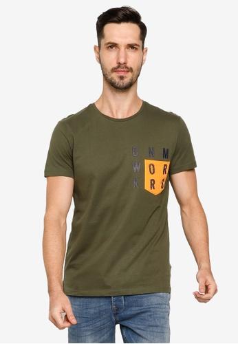 BLEND green Text Print Pocket Crew Neck T-Shirt 4B178AAE5C66A2GS_1