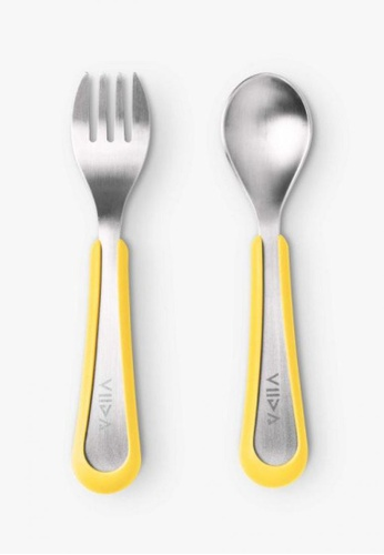 Viida [VIIDA] The Soufflé Kids Antibacterial Stainless Steel Fork and Spoon Set, Lemon Yellow (Large) for Toddler 2 Years Old and above Children - Eco-Friendly, Safe, FDA Certified, SGS Tested 523C1HLEC4B5D5GS_1