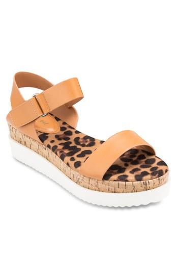 印花木製厚底涼鞋, 女鞋,zalora 手錶 鞋