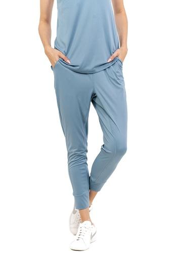 Huitieme 綠色 HUITIÈME 潮寬鬆束腳休閒長褲高腰顯瘦瑜伽健身褲 青 BA1A6AA4FB0B2FGS_1