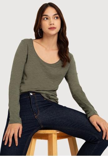 H&M green Long-sleeve Shirt 6EEC2AAD7460E1GS_1