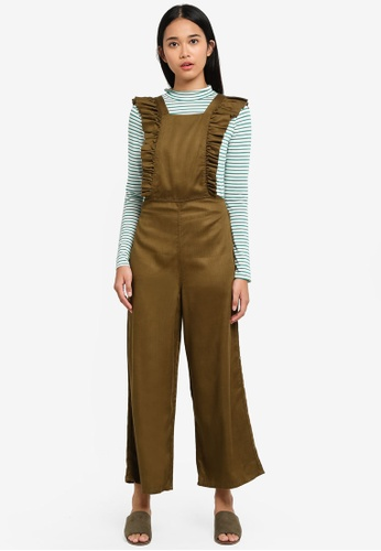 TOPSHOP 褐色 Frill Pinafore Jumpsuit 19F51AA0D21BCEGS_1
