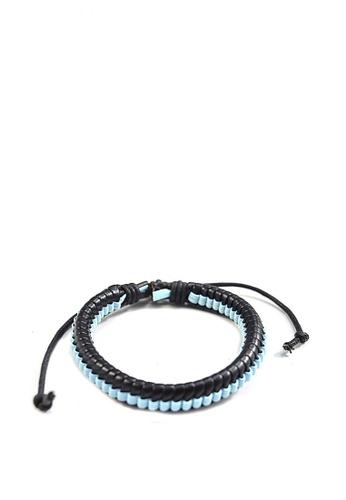 Jewelplace black and blue Rope Leather Bracelet JE882AC0K1AXPH_1