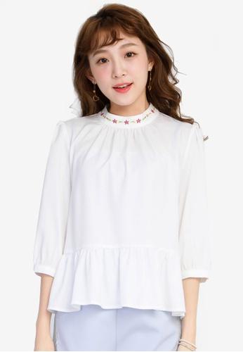 YOCO white Peplum Hem Blouse YO696AA0SSKMMY_1