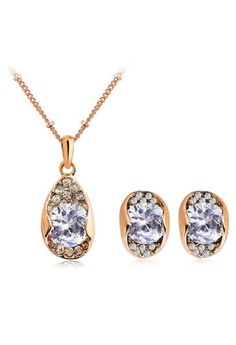 Crystal Water Drop Jewelry Sets for Women by Zumqa
