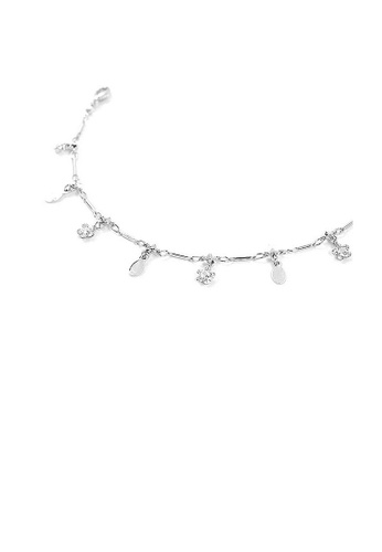Glamorousky silver Flower Anklet with Silver Austrian Element Crystals 10EA3AC439D14DGS_1