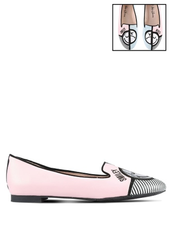 House of Avenues pink and multi Smiley World Colour Block Flats HO685SH0RRAIMY_1