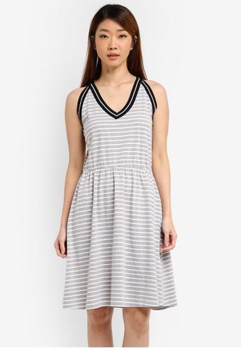 ZALORA grey Striped Halter Fit & Flare Dress DC1C6AA166216CGS_1