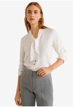 Mango white Bow Neck Shirt 93816AA836AB54GS 1 8e0d97d49