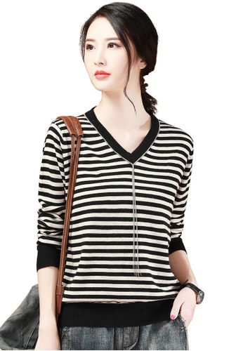 A-IN GIRLS black and beige Fashion V-Neck Striped Sweater D0D3DAA12CA2C1GS_1