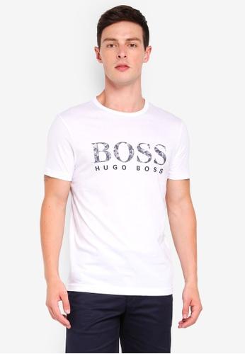 BOSS 白色 短袖LOGO印花T恤 BA12AAAF8FA773GS_1