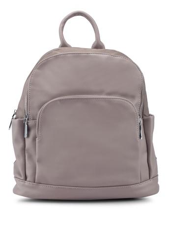 NUVEAU brown PU-Trimmed Nylon Backpack 99349AC9FBB9EDGS_1