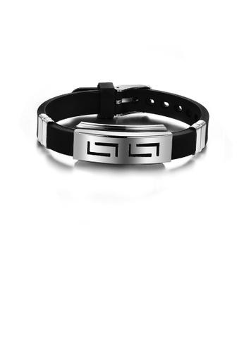 Glamorousky silver Fashion Personality Geometric Rectangular Silicone Bracelet 1DFC5ACCCF81D7GS_1