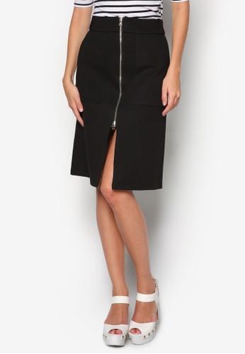 Nicole 前拉鍊及膝裙, 服飾,zalora 手錶 服飾