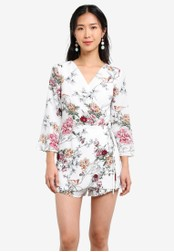 ZALORA white and multi Three Quarter Sleeves Wrapped Playsuit 0E624AA43398A1GS_1