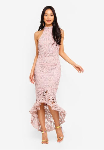 ee8e154f39 Shop MISSGUIDED Lace High Neck Fishtail Midi Dress Online on ZALORA  Philippines