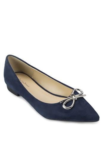 zalora 心得金屬蝴蝶結尖頭平底鞋, 女鞋, 鞋