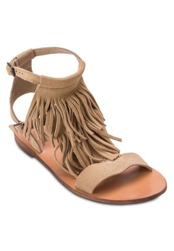 FRANCISCO 流蘇繞踝涼鞋zalora 包包評價, 女鞋, 鞋
