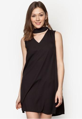 假圍巾素色連身裙, 服飾, esprit女裝洋裝