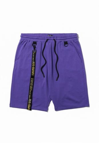 Fivecm purple Belt strap sweat shorts E8CACAAC564A75GS_1