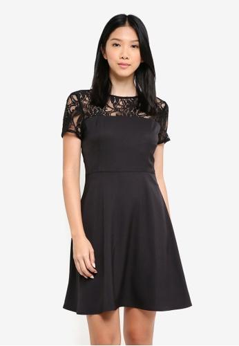 ZALORA black Lace Panel Fit And Flare Dress 857F0AA21F88E7GS_1