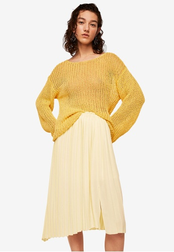 Mango yellow Pleated Midi Skirt 6B54DAA78E0457GS_1
