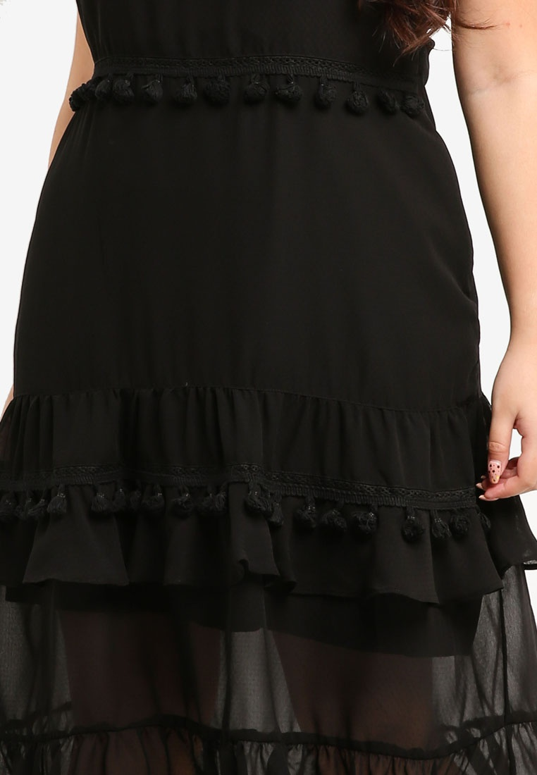 LOST Dress With PLUS Trim Plus Size Black INK Tassle rOx16Zr