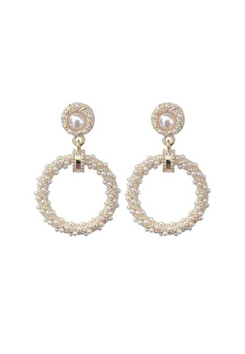 Atrireal beige and gold ATRIREAL - Babara Twin Pendant Drop Earrings 9D28BAC13191D5GS_1