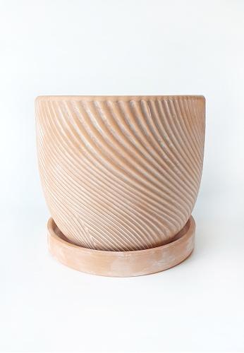 Your Lagom brown and orange Terracotta Zen Sand Planter Pot 04CC8HLC25A3BEGS_1