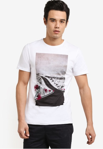 ZALORA white Highway Printed Tee with Embroidery A42B2AAF1FD256GS_1