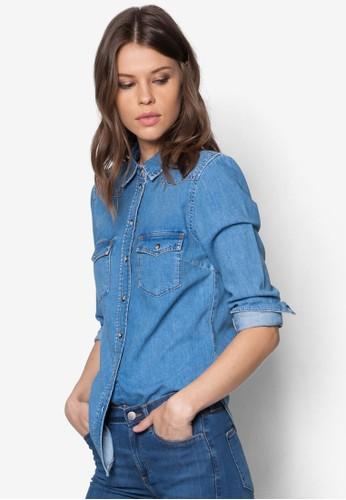 zalora時尚購物網的koumi koumiMoto 水洗丹寧長袖襯衫, 服飾, 服飾