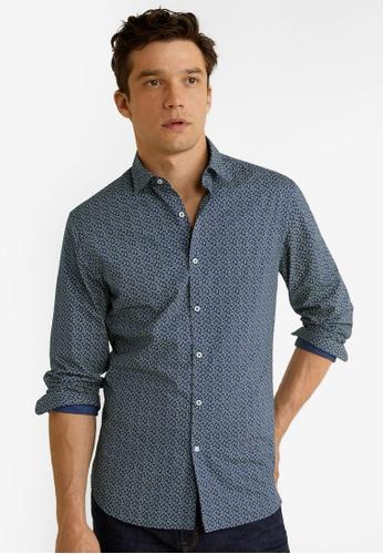 Mango Man 藍色 Slim Fit Printed Cotton Shirt B7808AA23C589BGS_1